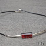 Crackle red glass necklace