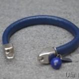 Unisex bracelet blue leather