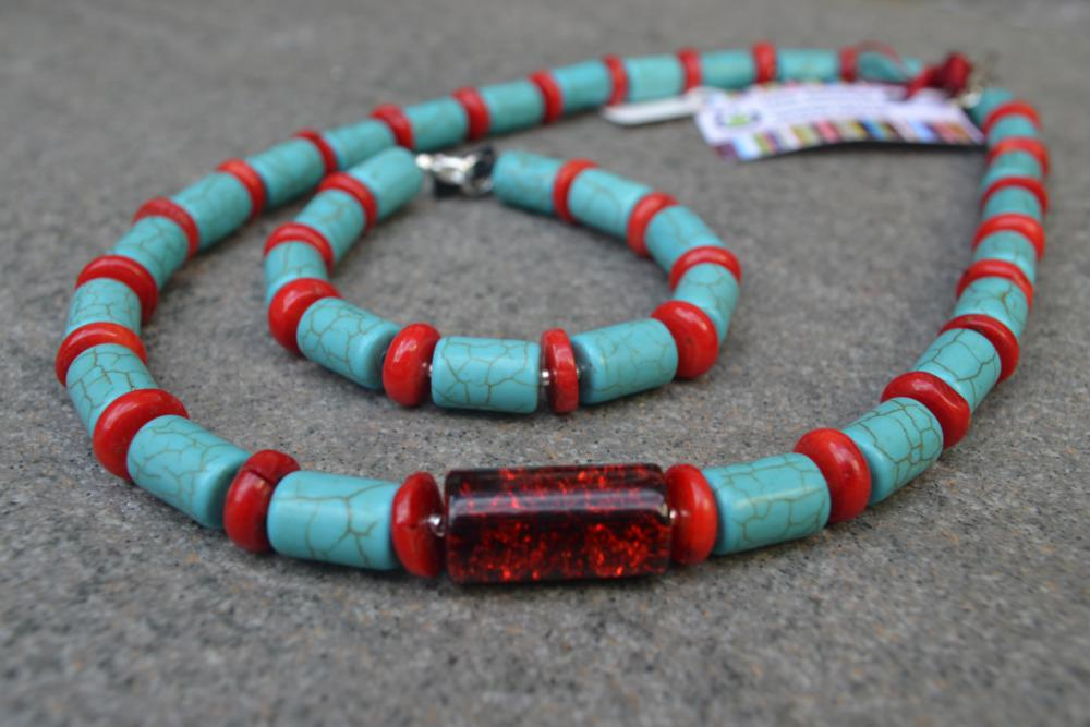 Turquoise & Coral Necklace